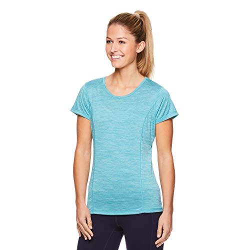 (HEAD Women's Short Sleeve Workout Scoop Neck T-Shirt - Performance Tennis Crew Neck Activewear Top - Nile Blue Heather,)