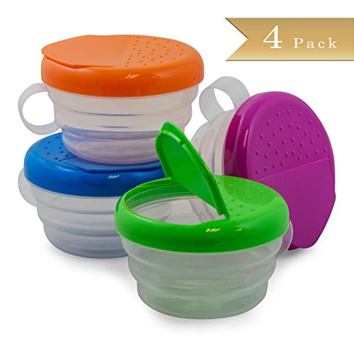 TrueCraftware Clear Kids Snack Bowl with Colored Lids, 4 Pk