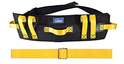 - Secure Transfer & Walking Gait Belt Combo Pack - STWB-62Y Wide Transfer Belt with 7 Hand Grips & SGBM-60Y 60 inch Metal Buckle Yellow Gait Belt l