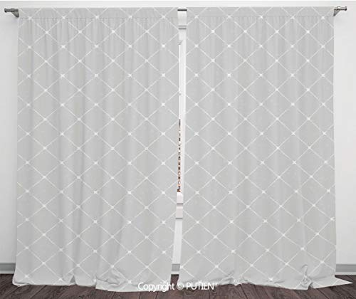 Satin Window Drapes Curtains [ Grey,Simple Linear Regular Pattern Soft and Geometric Theme Linked Cubes Modern Graphic Print Home,Gray ] Window Curtain Window Drapes for Living Room Bedroom Dorm Room