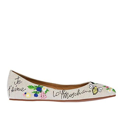 Women's ricamo Ballet Naturale Love Moschino Flats qvHwYz5