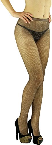 - ToBeInStyle Women's Spandex Seamless Glittery Fishnet Pantyhose Tights Hosiery - Coffee With Silver Glitter - One Size: Regular