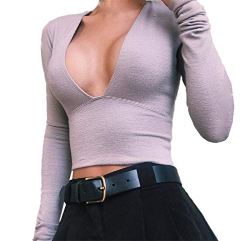 Tops Slim Automne Jumpers Gris Pullover Chemises Pulls Manches T Hauts Blouses Mode Shirt Col Chemisiers Tees Sexy Femmes Longues Court Printemps V 6q8X44