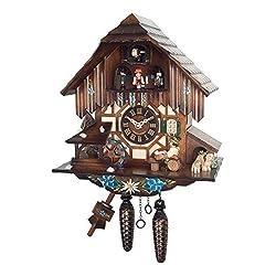 Alexander Taron Importer 464MT Engstler Weight-Driven Cuckoo Clock-Full Size-12.5 H x 11 W x 7 D, Brown