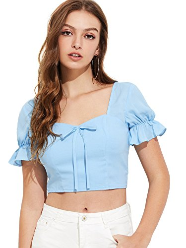 (MAKEMECHIC Women's Knot Front Ruffle Short Sleeve Smocked Crop Top Blouse Blue XS)