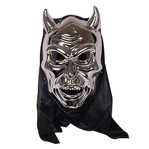 FEDULK Halloween Cattle Magic Horror Mask Cosplay Bar Performance Theme Party Costume Mask(Silver)