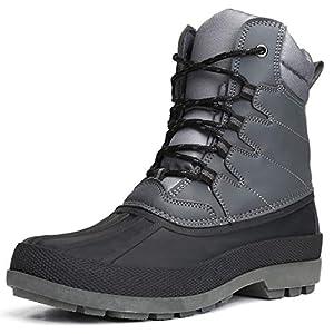 Camfosy Bottes de Neige Imperméable Hommes, Chaussures Hiver Fourrée Après Ski Fourrure Chaude Bottes de Pluie Bottines à Lacets Noir Gris Marron