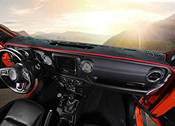 Black Highitem Inner Dashboard Dash Mat DashMat Sun Cover Pad for Jeep Wrangler JL 2018 Up