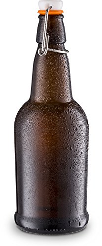 Home Brewing Glass Beer Bottle with Easy Wire Swing Cap & Airtight Rubber Seal -Amber- 16oz - Case of 12 - by Tiabo by Tiabo (Image #3)