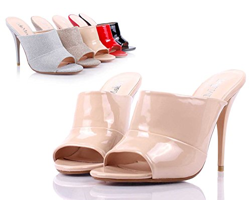 Toe New High Womens on Slip Peep Heel Box Without Nude weyoh Sexy Shoes Mules Padded Sandals Only Cushion E6z5E0Pqn