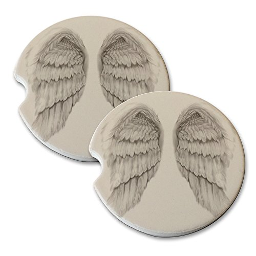 Angel Wings - Car Cup Holder Natural Stone Drink Coaster Set ()