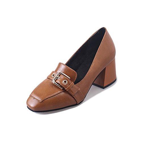 Mode Spitze Zehe Pumps,PU Leder Block Ferse Slip-on Damen Schuhe Gelb