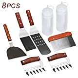 ZOUTOG Griddle Accessories, 8 Piece Tool Kit for BBQ Grill, Restaurant Grade, 2 Spatulas, 1 Chopper Scraper, 1 Burger Flipper, 2 Meat Claws, 2 Squirt Bottles