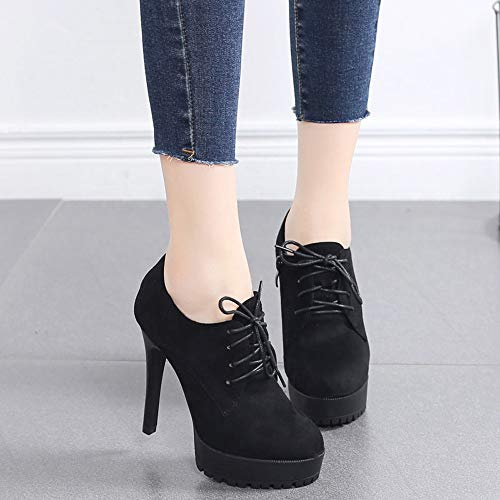 women's laces shoes Wild heads LBTSQ Thirty shoes shoes high four heels round tables heels 11cm waterproof thin Deep nq6xH7