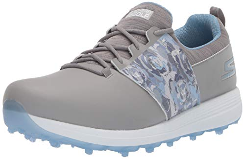 Skechers Women's Eagle Spikeless Golf Shoe, Gray/Blue Floral, 9.5 M US