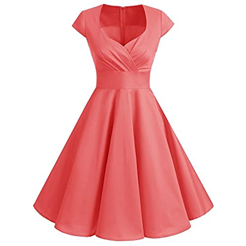 Bbonlinedress Women Short 1950s Retro Vintage Cocktail Party Swing Dresses Coral L