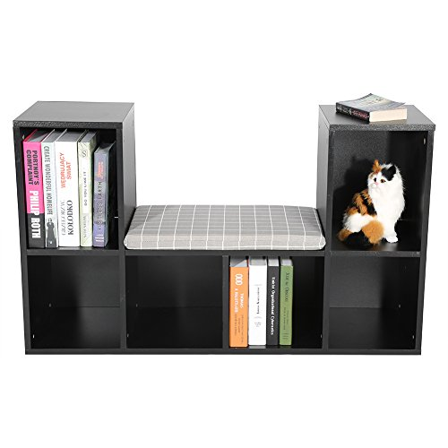 GOTOTOP Multi-functional Wooden Storage Shelf Bookshelf Bookcase with Reading Nook Home Office Use Practical New (Black)