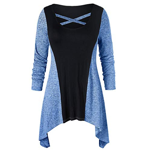 Usstore  Women Irregular Top Fall Winter Fashion Plus Size Loose Cross O-Neck Colorblock Splice Blouse Pullover (XXXXL, Blue)