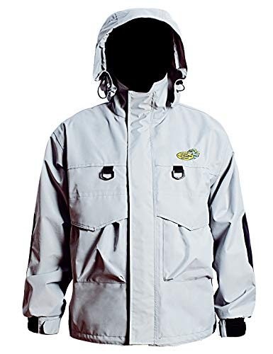 Navis Marine Guide Jacket for Wading Men's Fly Fishing Rain Gear 3 Layer Waterproof Breathable (Light Silver/M) ()