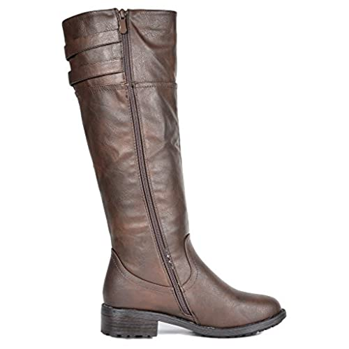 6601a4f5405 DREAM PAIRS Women s Knee High and up Riding Boots (Wide-Calf) good ...