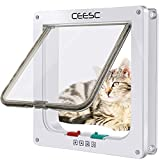 CEESC Cat Flap Door Magnetic Pet Door with 4 Way Lock for Cats, Kitties and Kittens, 3 Sizes and 2 Colors Options (M- Inner Size: 2.17'(D) x 6.18'(W) x 6.30'(H), White)