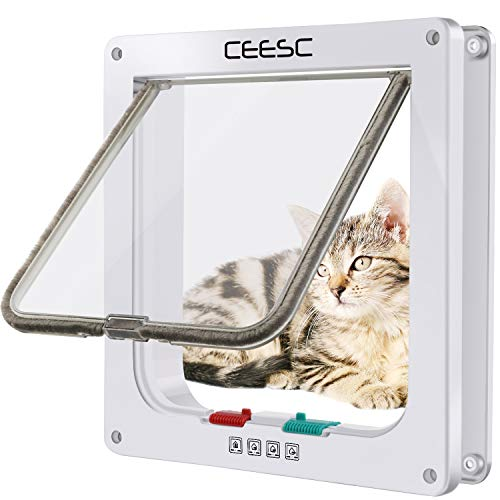 4 Way Flap Cat - CEESC Cat Flap Door Magnetic Pet Door with 4 Way Lock for Cats, Kitties and Kittens, 3 Sizes and 2 Colors Options (M- Inner Size: 2.17