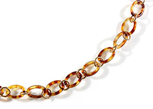 Little Links, Tortoiseshell Color Acrylic Link Chain Necklace, 31-34 Inches