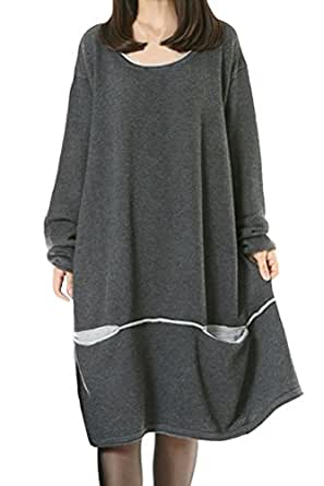 9edb857b6c72d Image Unavailable. Image not available for. Color  Mordenmiss Women s Daily  Knitwear Spring Loose Sweater Dress L Gray