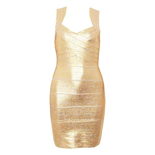 HLBandage Women Metallic Sleeveless Halter Bodycon Bandage Dress Morado