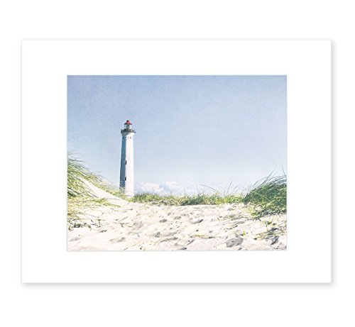 - Blue Coastal Wall Art, Beach Decor Picture, Nautical Lighthouse Photography, 8x10 Matted Photographic Print (fits 11x14 frame), 'The Lighthouse'