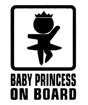 leso© Baby Princess On Board Noir Car Voiture Sticker S018 LeSo©