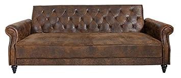 Casa Padrino Chesterfield Sofa Antik Braun mit Schlaffunktion aus Dem Hause  Wohnzimmer Möbel - Couch