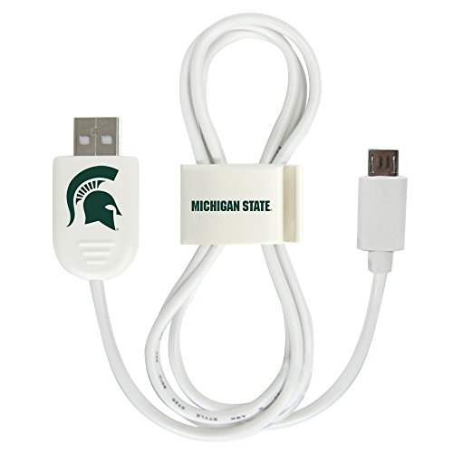 Michigan State Spartans Micro USB Cable with QuikClip - White
