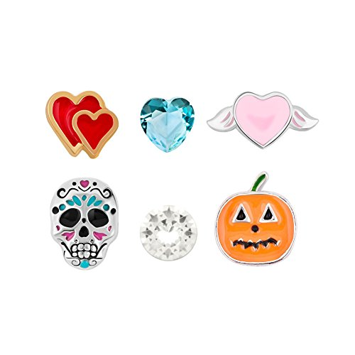 6 Pcs Skull Pumpkin Halloween Floating Charms For Glass Living Memory Lockets Necklace & (Origami Halloween Pumpkin)