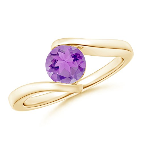 Bar-Set Solitaire Round Amethyst Bypass Ring in 14K Yellow Gold (6mm Amethyst)