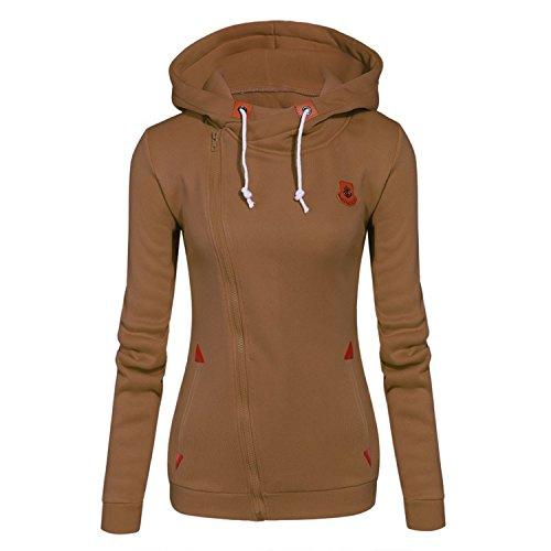 Doris Batchelor Nice Womens Fashion Fleeces Sweatshirts Ladies Hooded Candy Colors Solid Sweatshirt Long Sleeve Zip Up Clothing Khaki XL