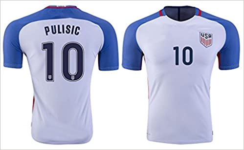 7d411a4b3 16-17 Men USA Team 10 PULISIC Authentic Home Soccer Jerseys White Size L:  0742354142028: Amazon.com: Books