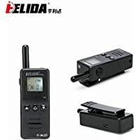 Super Mini Two Way Radio Transceiver HELIDA 128 channel FRS GMRS UHF 400-520MHz Walkie Talkie with LCD display( one piece black)