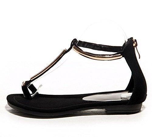 Adee Ladies Metalornament cremallera de oveja sandalias negro