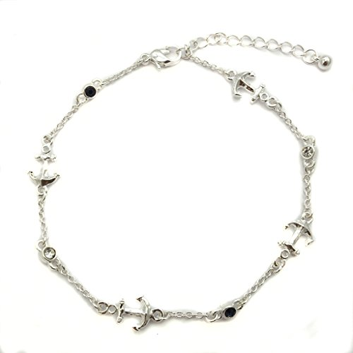 Jucicle Anchor Charm Crystal Montana Rhinestone Reversible Link Anklet (Silver)