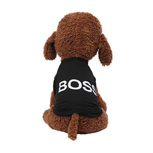 BOLUBILUY New Pet Summer Breathable Classic Boss Print Vest Dog Cat Clothing Black Dog T-Shirts Clothes Letters Dog Shirts