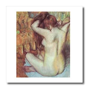 ht_126996_3 BLN Edgar Degas Fine Art Collection - Nude Woman Combing Her Hair by Edgar Degas - Iron on Heat Transfers - 10x10 Iron on Heat Transfer for White Material