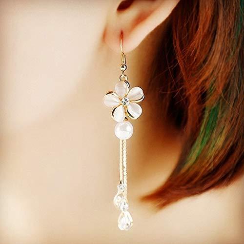 - Bride Unique Creative Wedding Party Crystal Pearl Long ol Nightclub Exaggerated Women Girls Necklace Pendant Earrings Earring Dangler Eardrop Jewelry (2 Drops of Gold Beads Flower