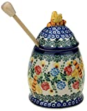 Ceramika Boleslawiecka Kalich Polish Hand Painted Honey Pot with Honey Dipper