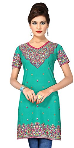 Indian Tunic Top Womens Kurti Printed Blouse India Clothing – Small, L 147