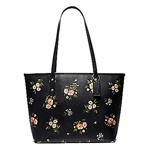 (Coach City Zip Tote With Tossed Daisy Print Black Pink)