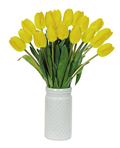 Stargazer Barn - Bright and Cheery Yellow Tulips with Unique Hobnail Style Glass Vase - Yellow Tulips - Sustainably Grown in California - Yellow Flowers - Birthday Gift - Thank You Gift - Home Décor