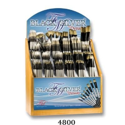 Dynasty FM4800D Black Silver Blended Synthetic Oil and Acrylic Brush Display Assortment