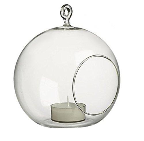 Windspeed 1pcs Glass Hanging Candle Holder Tea Light Holder,Hanging Plant Terrarium/Votive Holder Home Decor Supplies (Dia 8cm)
