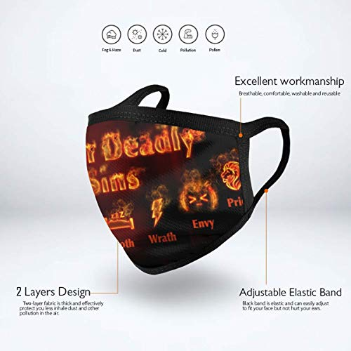 The 7 Dead-ly Sin-s Face Mouth Cover Mask Reusable Anti Dust Anti Pollution Unisex Earloop Breathing Mouth Shade Black